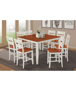 """54"""" SQUARE COUNTER HEIGHT TABLE DINING ROOM SET W. WOODEN SEATS IN WHITE... - $699.91+"""