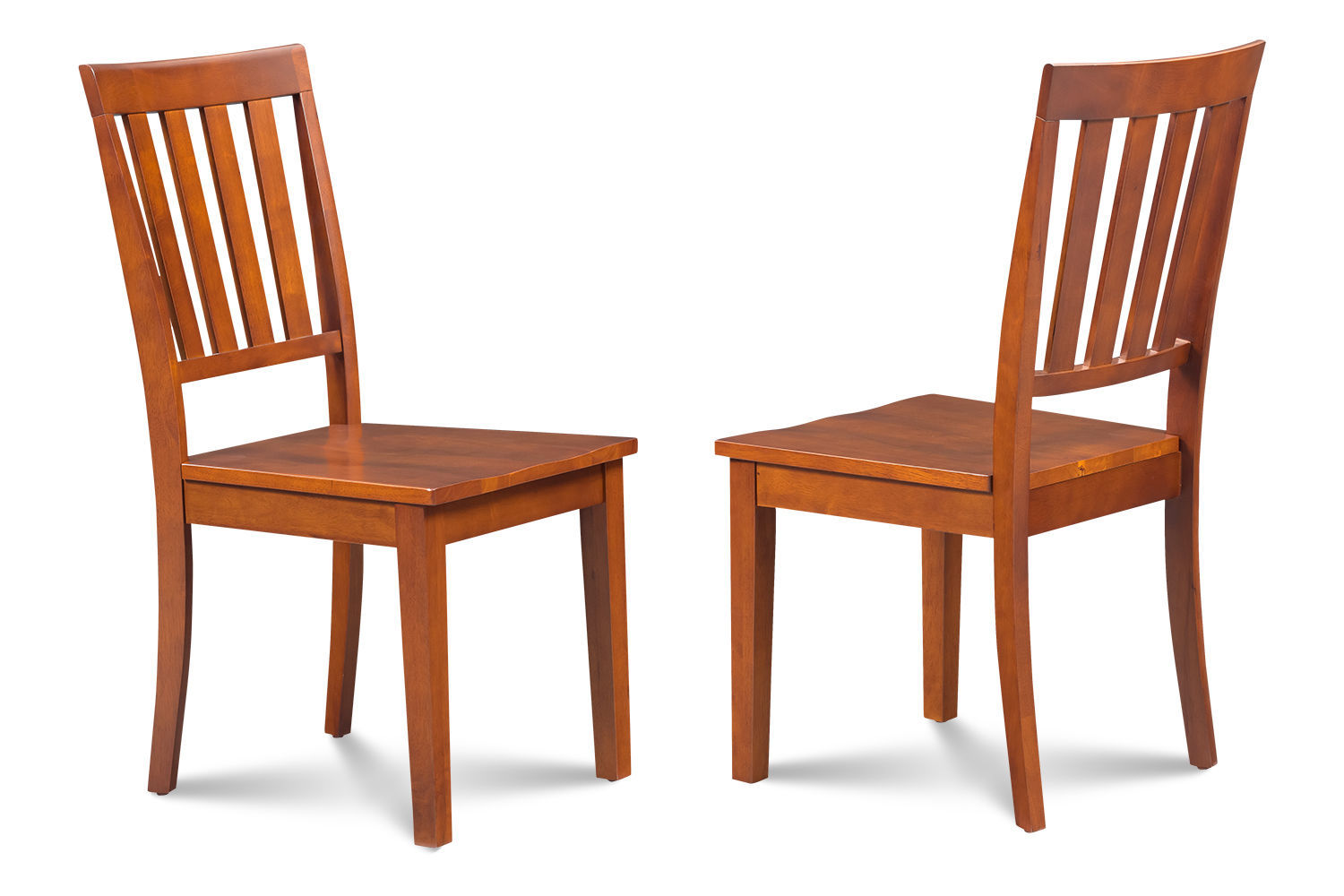 SET OF 2 MOCHA KITCHEN DINING CHAIRS WITH WOODEN SEAT IN SADDLE BROWN