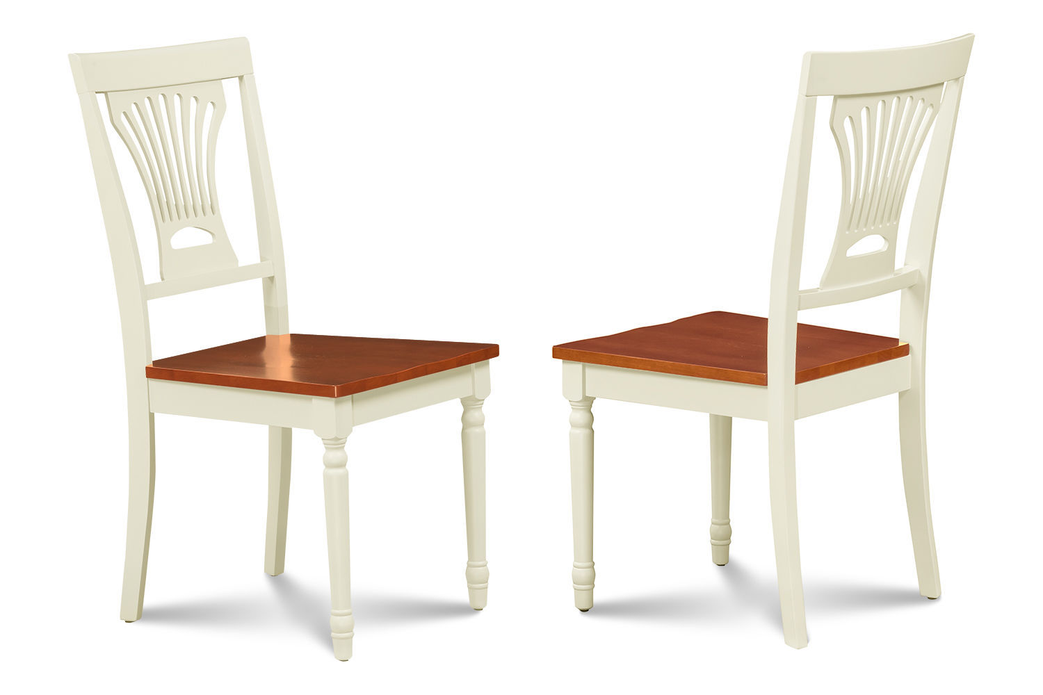 SET OF 2 DINING KITCHEN SIDE CHAIR  WITH WOODEN SEATS  IN BUTTERMILK & CHERRY