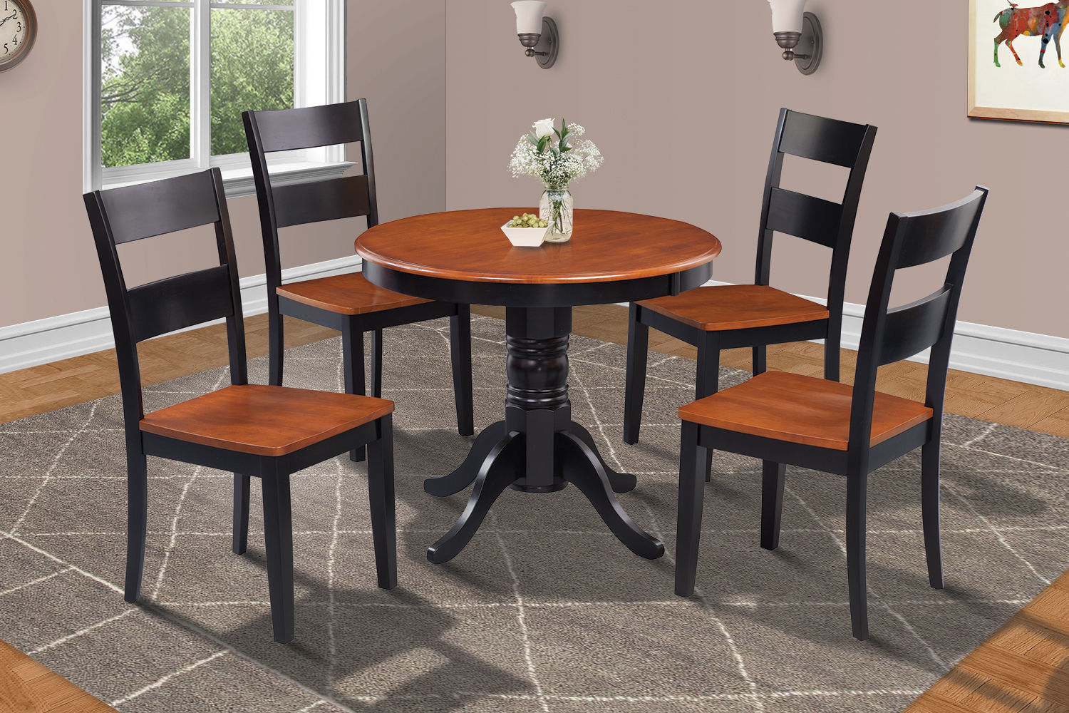 "36"" BROOKLINE DINETTE DINING ROOM ROUND TABLE SET IN BLACK CHERRY FINISH"