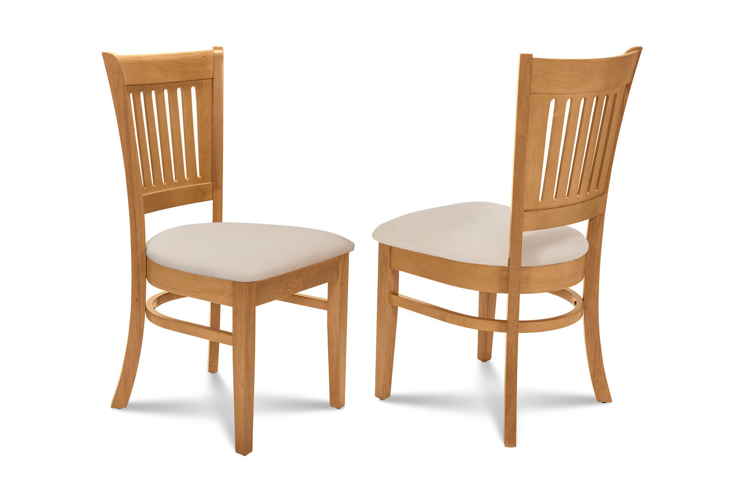SET OF 4 DINING KITCHEN DINETTE SIDE CHAIRS w/ CUSHIONED SEATS IN OAK FINISH