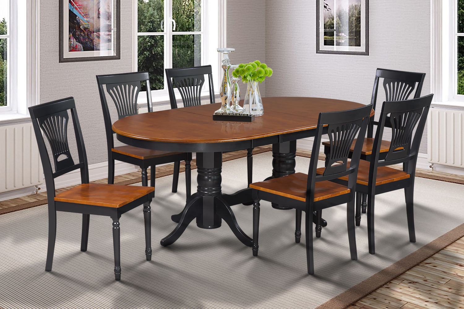 OVAL DINETTE DINING ROOM TABLE SET WITH WOODEN SEATS  IN BLACK & CHERRY
