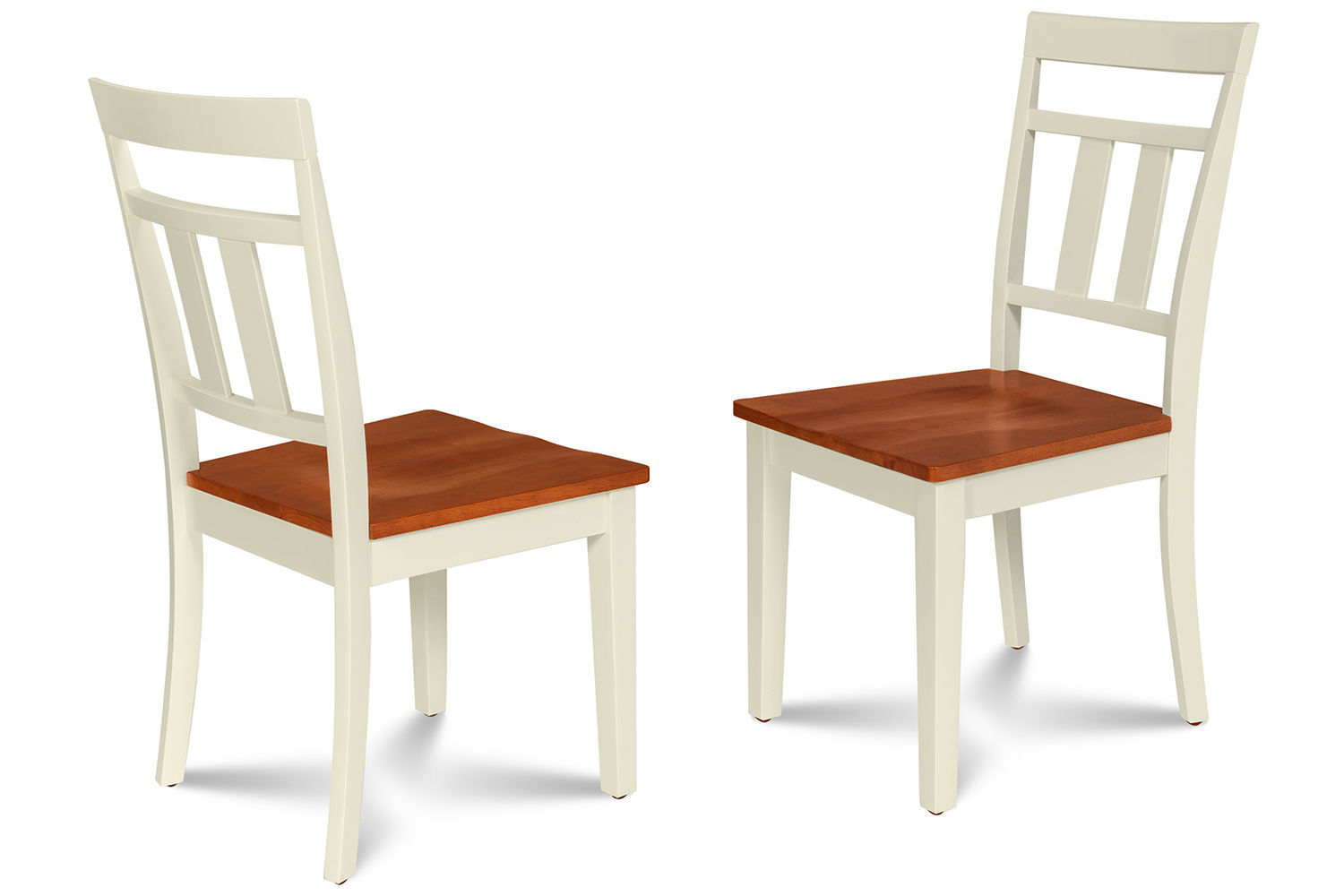SET OF 2 KITCHEN DINING SIDE CHAIRS w/ WOODEN SEAT IN BUTTERMILK CHERRY