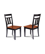 SET OF 4 KITCHEN DINING SIDE CHAIRS w/ WOODEN SEAT IN  BLACK CHERRY - $250.58