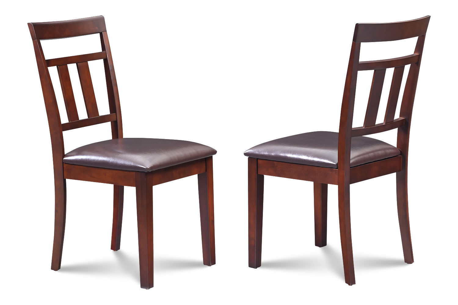 SET OF 6 KITCHEN DINING SIDE CHAIRS w/ FAUX SEATS IN MAHOGANY FINISH