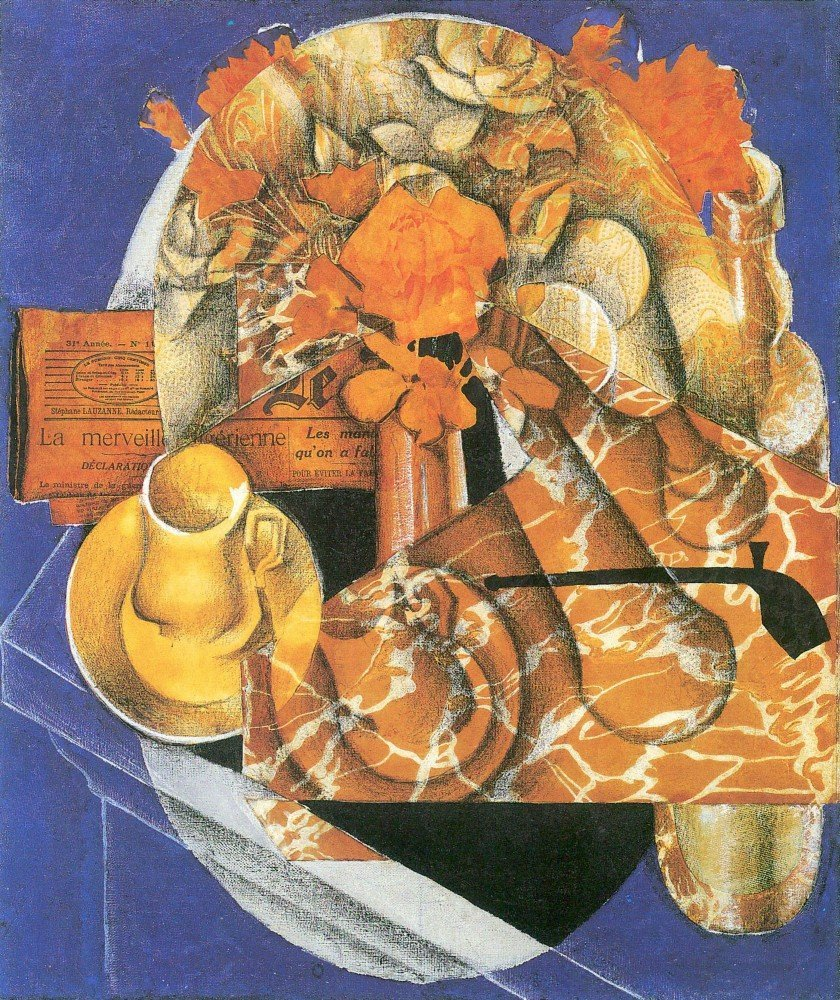 100% Hand Painted Oil on Canvas - Leafs by Juan Gris - 24x36 Inch