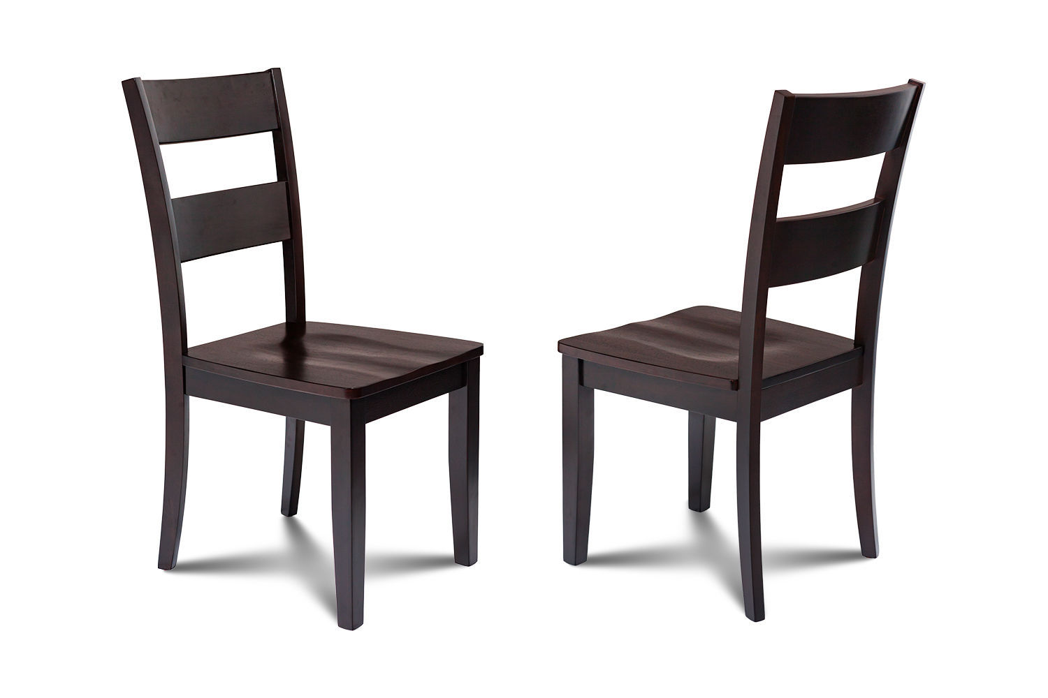 SET OF 4 KITCHEN DINING SIDE CHAIRS w/ WOODEN SEAT IN CAPPUCCINO