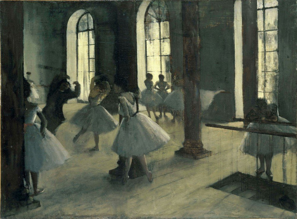 100% Hand Painted Oil on Canvas - La Repetition au foyer de la danse by Degas...