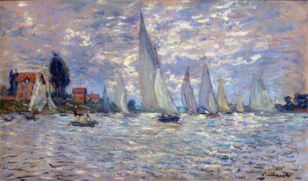 100% Hand Painted Oil on Canvas - les Barques by Monet - 24x36 Inch