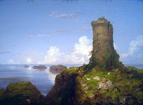100% Hand Painted Oil on Canvas - Italian Coast Scene with Ruined Tower -Thom...
