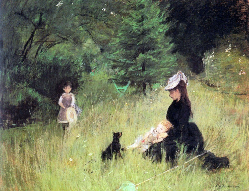 100% Hand Painted Oil on Canvas - In the Meadow by Morisot - 24x36 Inch