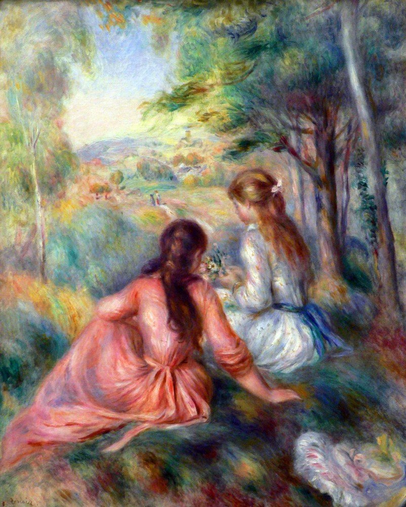 100% Hand Painted Oil on Canvas - In the meadow by Renoir - 24x36 Inch