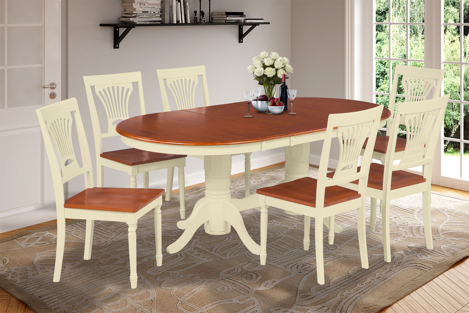 9 PC OVAL DINING ROOM TABLE SET WITH WOODEN CHAIRS IN BUTTERMILK & CHERRY