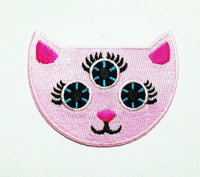 """""""Demon pink cat three eyes cute patch"""" Sew on or Iron on Patch. High quality."""