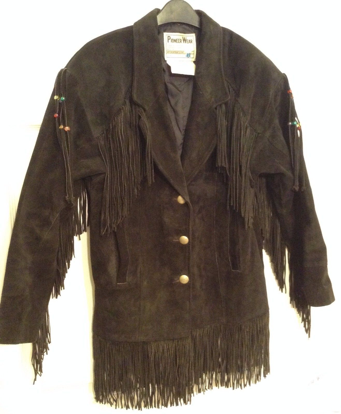Pioneer Wear Suede Jacket with Fringe & Beads - Black Western Coat - Size 6