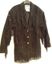 Pioneer Wear Suede Jacket with Fringe & Beads - Black Western Coat - Size 6 - $119.95