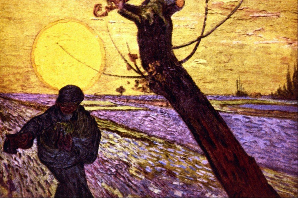 100% Hand Painted Oil on Canvas - Le Semeur by Van Gogh - 24x36 Inch