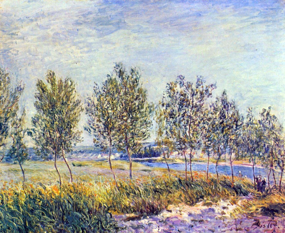100% Hand Painted Oil on Canvas - By meadow by Sisley - 20x24 Inch