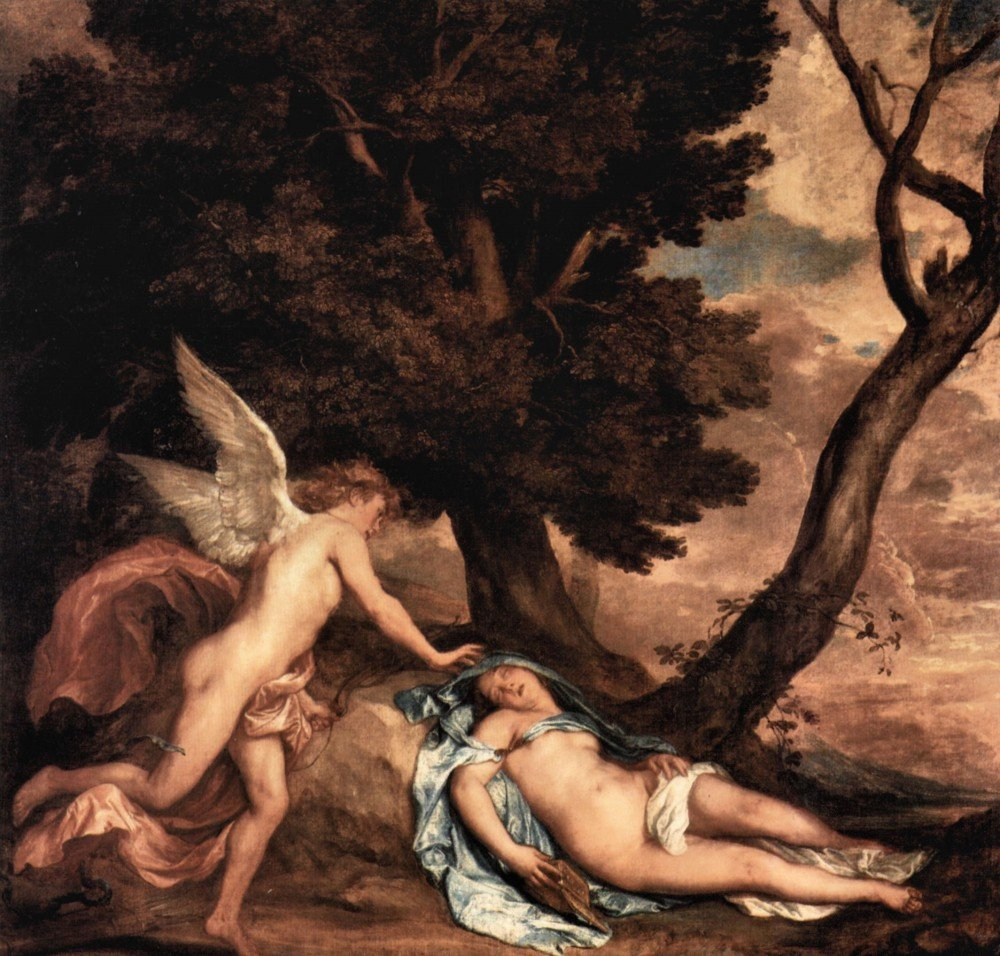 100% Hand Painted Oil on Canvas - Amour and Psyche by Van Dyck - 24x36 Inch
