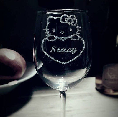 Hello Kitty Wine Glass with name, Cat Lover, Birthday Gift, For Her, Wine lover