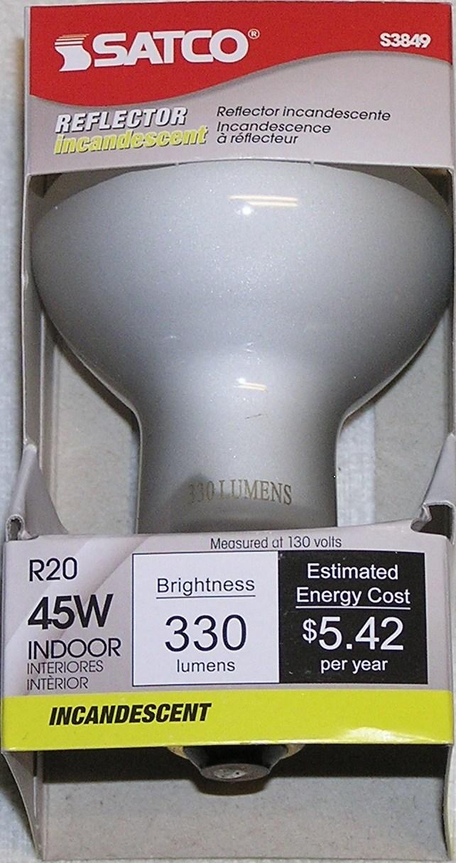 Lot of 6 Satco 45 Watt R20 Reflector Incandescent Floodlight Bulb 45R20 Dimmable