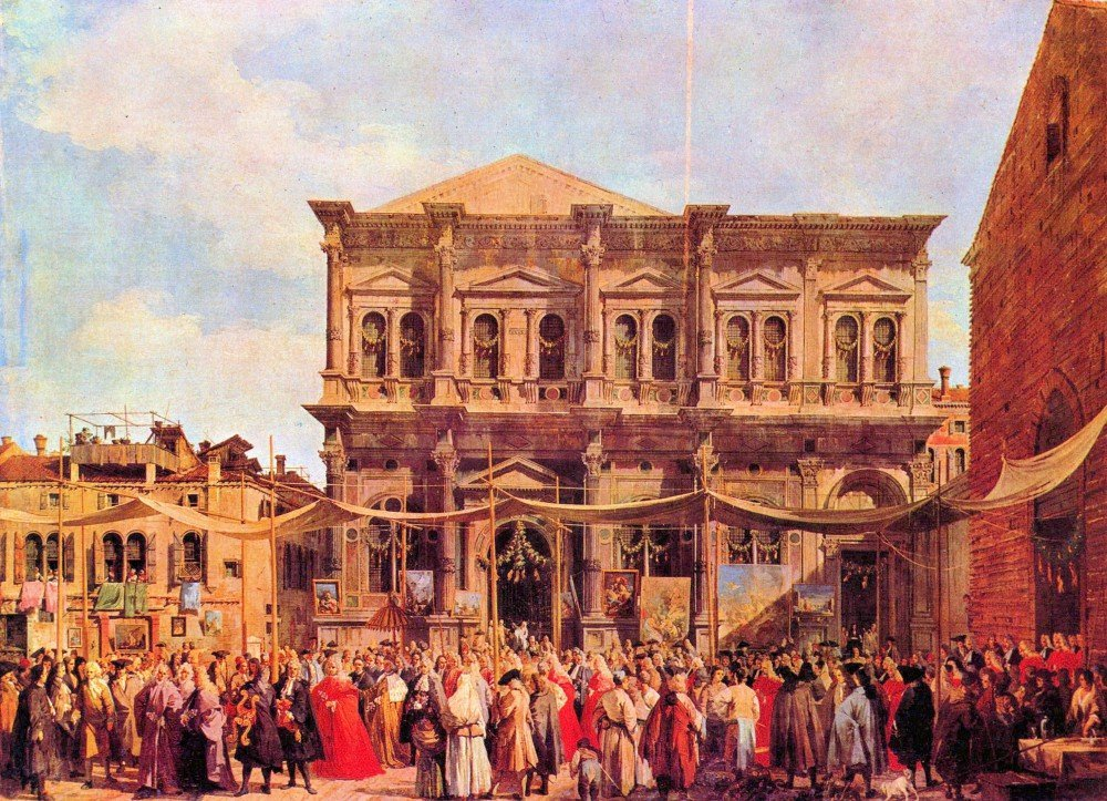 100% Hand Painted Oil on Canvas - Festival in San Rocco by Canaletto - 24x36 ...