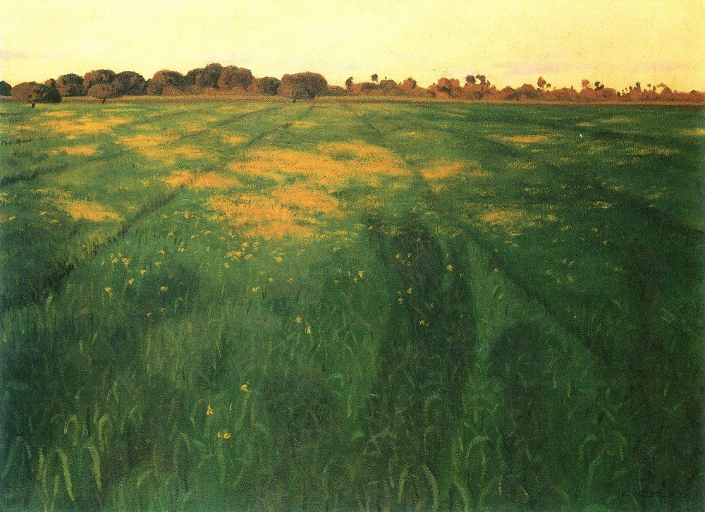100% Hand Painted Oil on Canvas - Field of green oats by Felix Vallotton - 24...