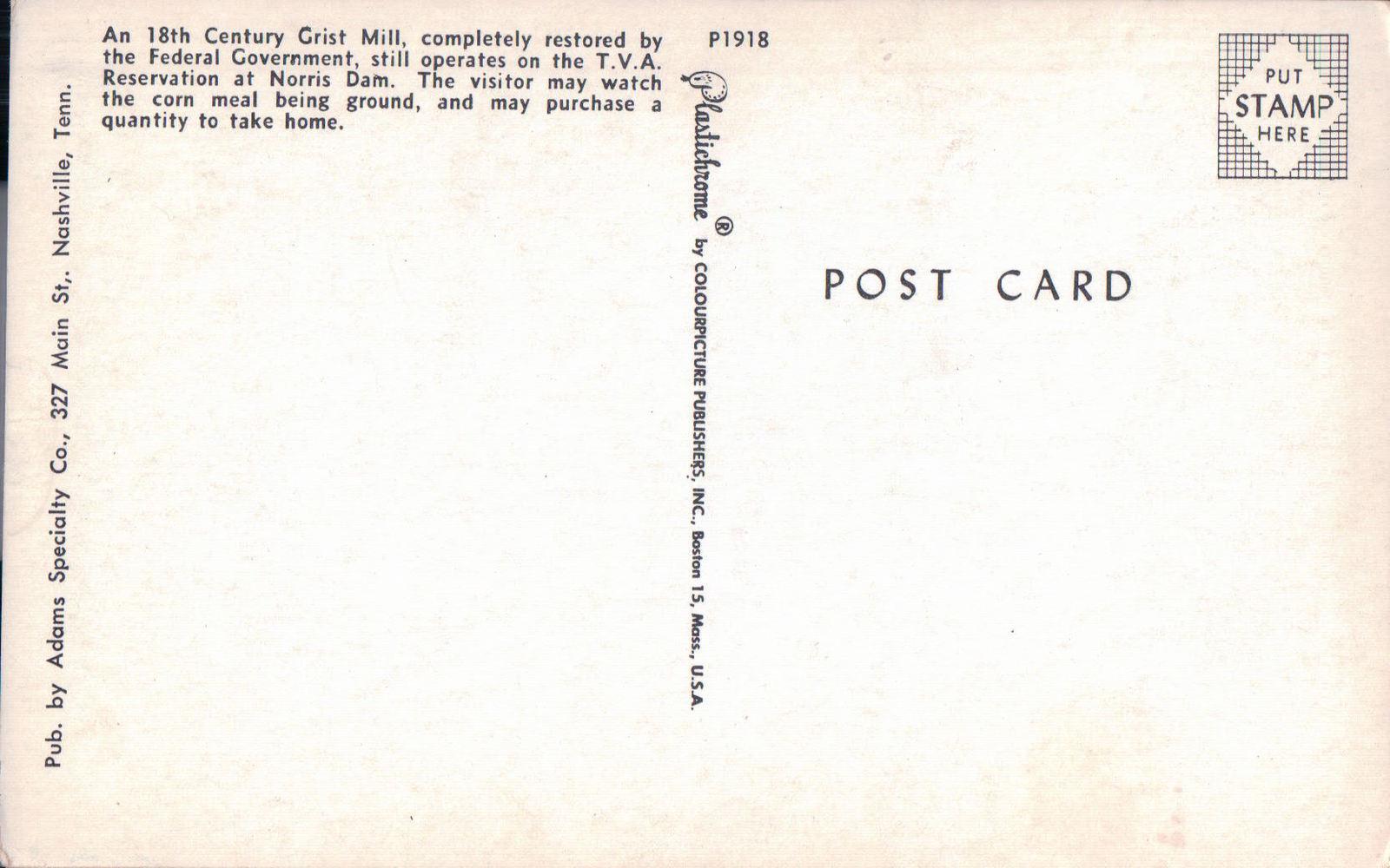 Grist Mill at Noris Dam Tennessee Postcard