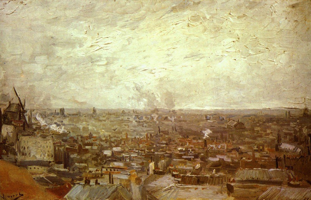 100% Hand Painted Oil on Canvas - View from Montmartre by Van Gogh - 20x24 Inch