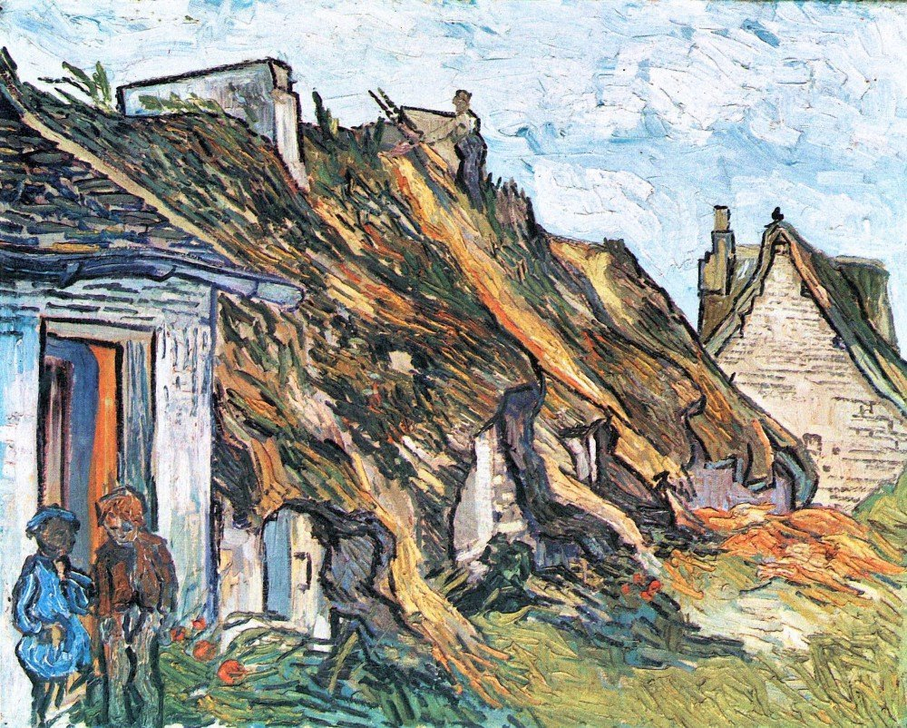 100% Hand Painted Oil on Canvas - Thatched hut in Chaponval by Van Gogh - 30x...