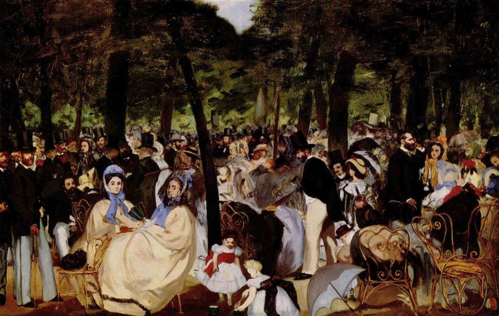 100% Hand Painted Oil on Canvas - Music in Tuilerie Garden by Manet - 24x36 Inch