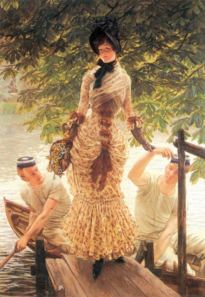 100% Hand Painted Oil on Canvas - On the Thames by Tissot - 30x40 Inch