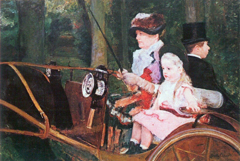 100% Hand Painted Oil on Canvas - In the wagon by Cassatt - 30x40 Inch