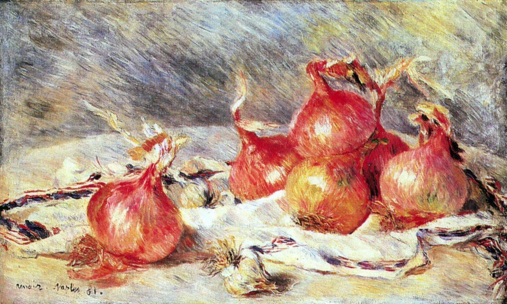100% Hand Painted Oil on Canvas - Onions by Renoir - 30x40 Inch