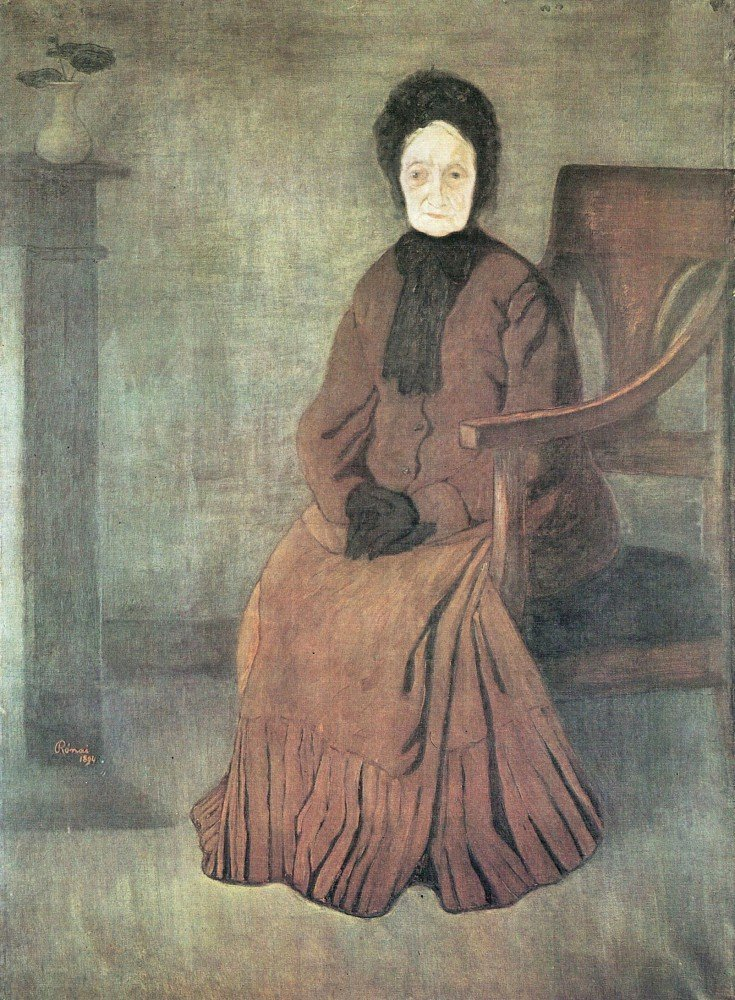 100% Hand Painted Oil on Canvas - My grandmother by Joseph Rippl-Ronai - 24x3...
