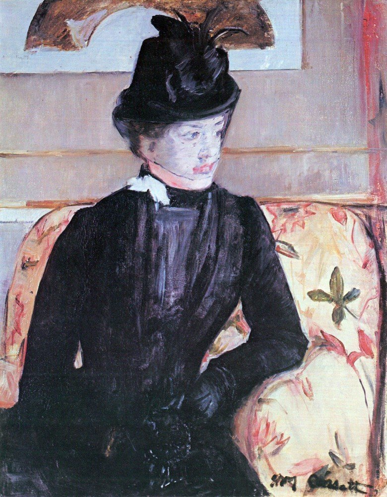 100% Hand Painted Oil on Canvas - Young woman in black by Cassatt - 30x40 Inch