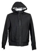 Rag & Bone Christopher Leather Hooded Bomber Jacket Size S Black New $1,195 - $455.39