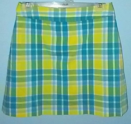 Lilly Pulitzer Plaid Tennis Golf Athletic Skirt Skort Yellow Blue Size 4 EUC