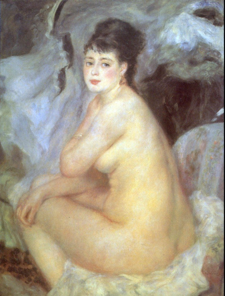 100% Hand Painted Oil on Canvas - Female Nude by Renoir - 30x40 Inch