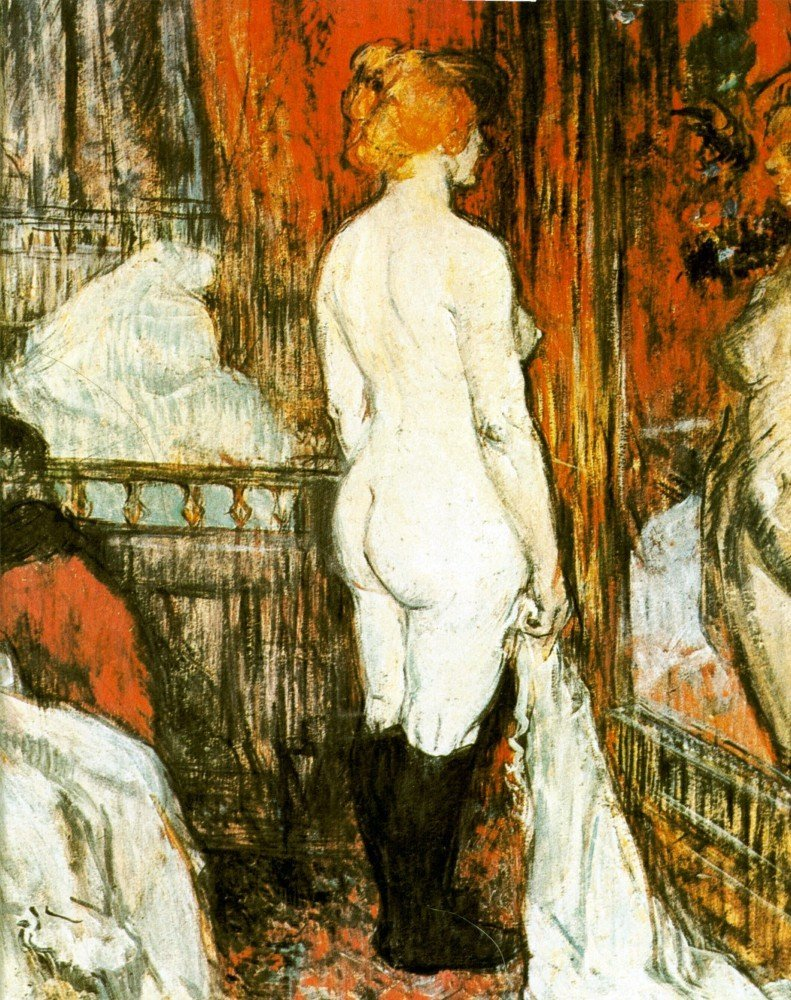 100% Hand Painted Oil on Canvas - Female Nude by Toulouse-Lautrec - 30x40 Inch