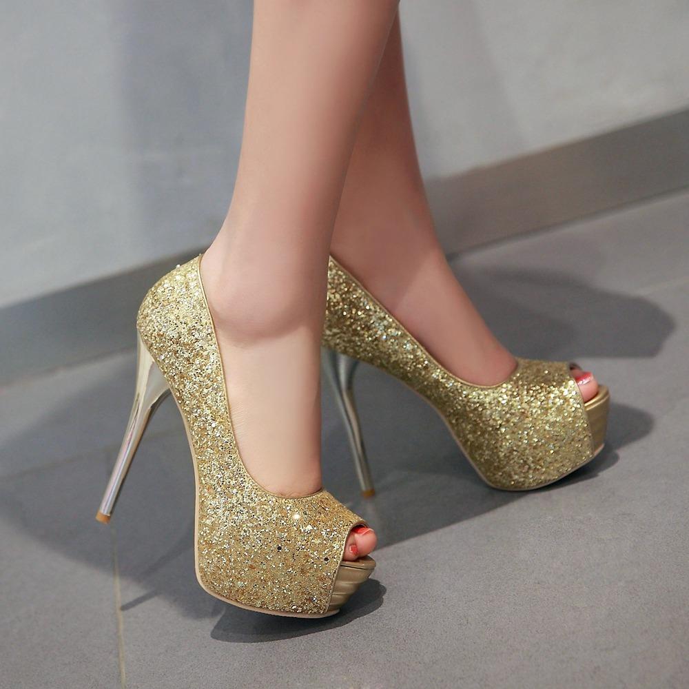 pp235 stunning bridal pump, sequin surface, high heels, US Size 2-10, black