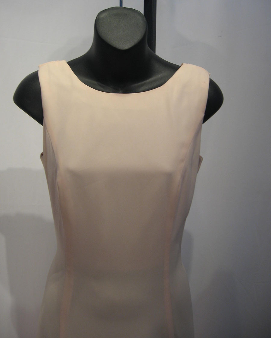 Vintage 80's Michaelangelo Solid Pink Polyester Draped Back Cocktail Gown Sz: 8