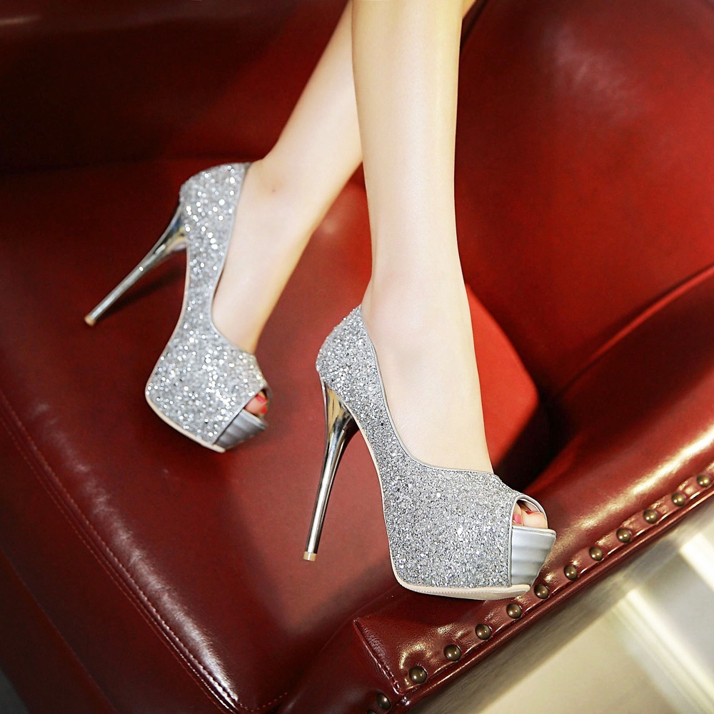 pp235 stunning bridal pump, sequin surface, high heels, US Size 2-10, gold