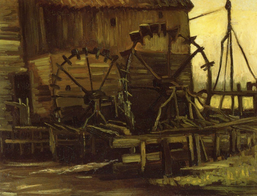 100% Hand Painted Oil on Canvas - Waterwheels by Van Gogh - 20x24 Inch