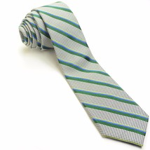 NEW BEN SHERMAN 57L Houndstooth Black Pine Blue Silk Mens Neck Tie - $49.49