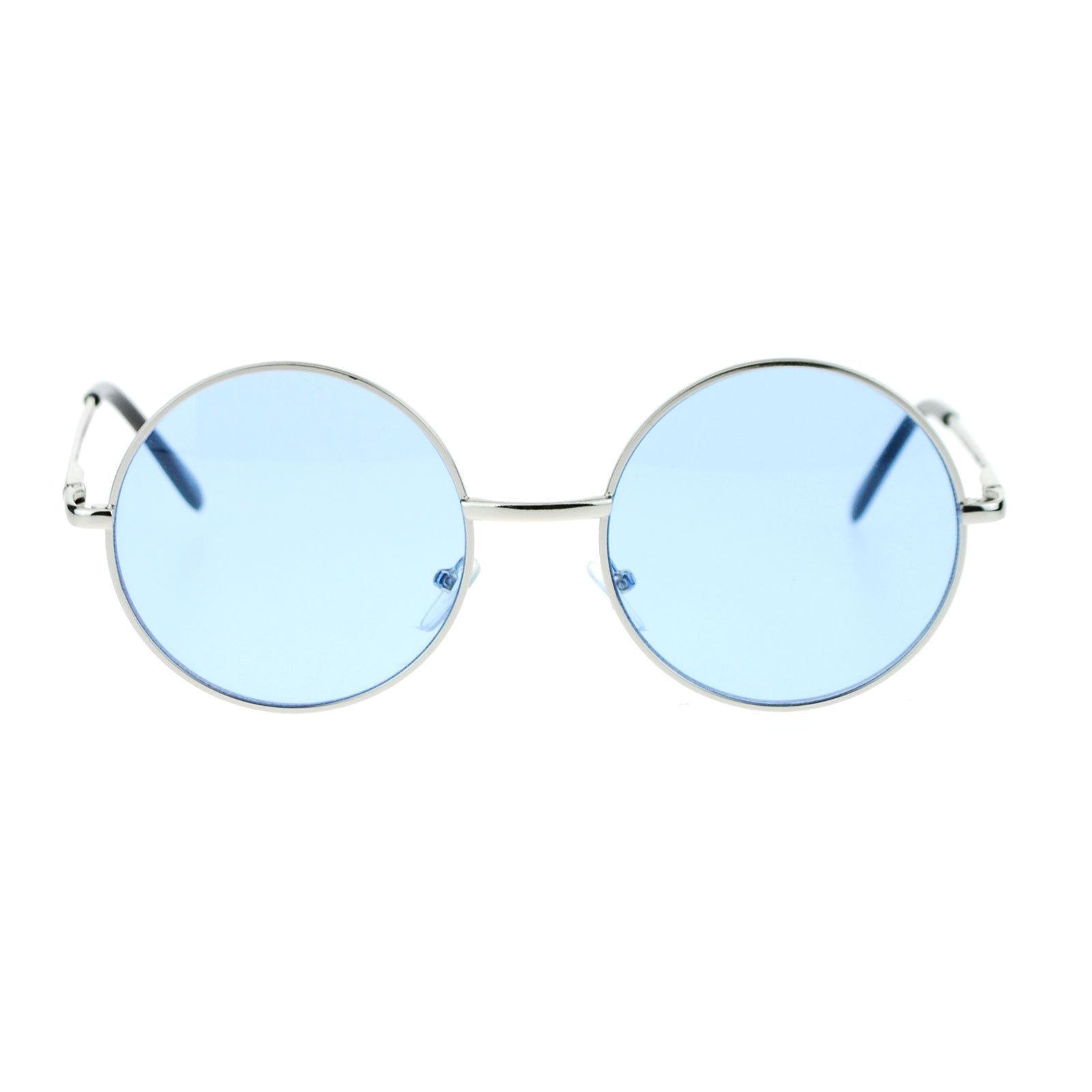 Unisex Sunglasses Round Circle Thin Metal Frame Spring Hinge Color Lens