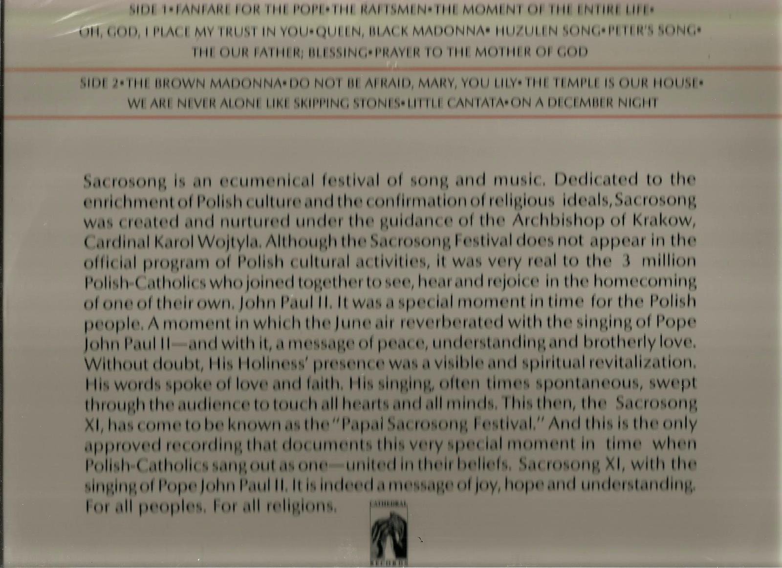 POPE  JOHN  PAUL  II  * SINGS AT THE FESTIVAL OF SACROSONG * BRAND NEW ~ VINYL