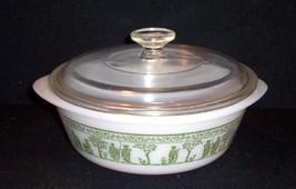 Jeannette Glass Wedgwood GRECIAN Green Hellenic Greek Roman 2 Qt Casserole w/Lid - $21.78