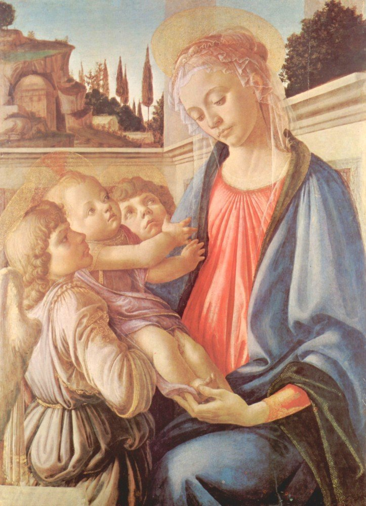 100% Hand Painted Oil on Canvas - Madonna and two angels by Botticelli - 20x2...