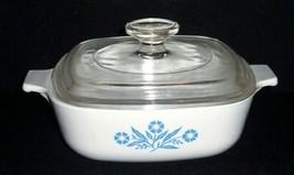 Vintage CorningWare Blue Cornflower 1 Quart Square Casserole w/Lid - $21.78